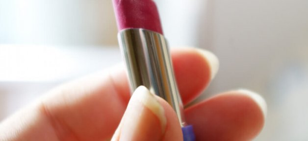 a tube of red lipstick