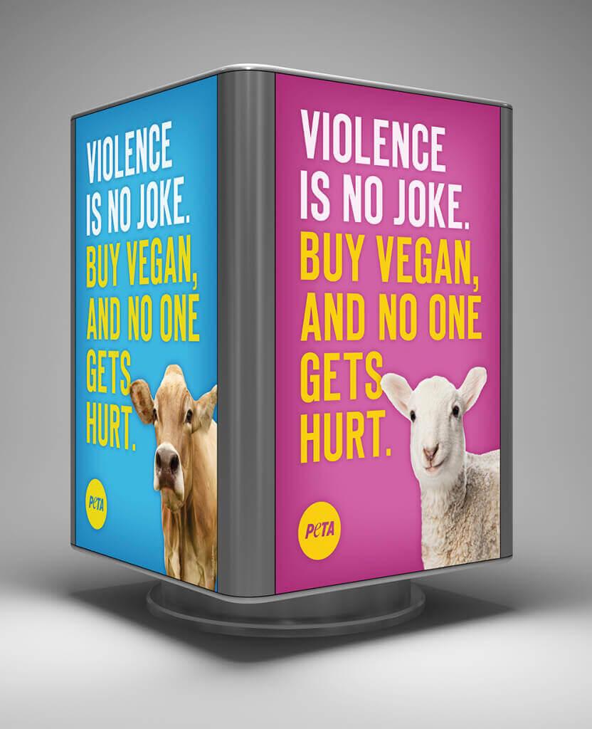 """PETA """"Violence Is No Joke"""" Billboard"""