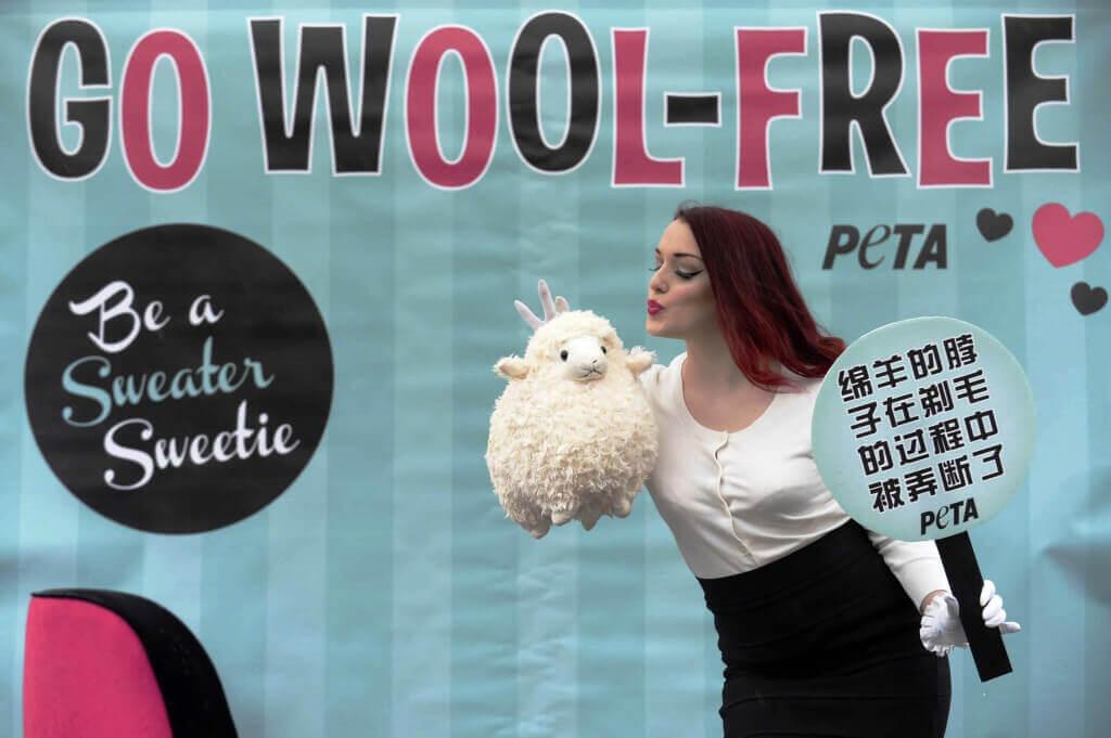PETA Burlesque Dancer at Wool Demo