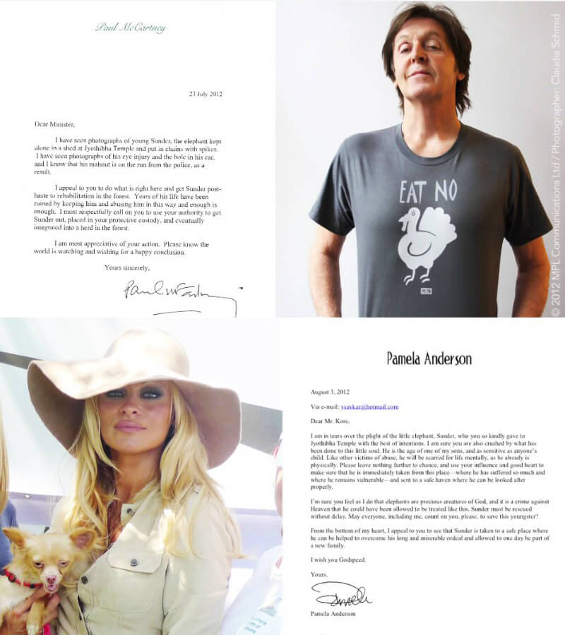 Paul McCartney and Pamela Anderson Letters on Behalf of Sunder