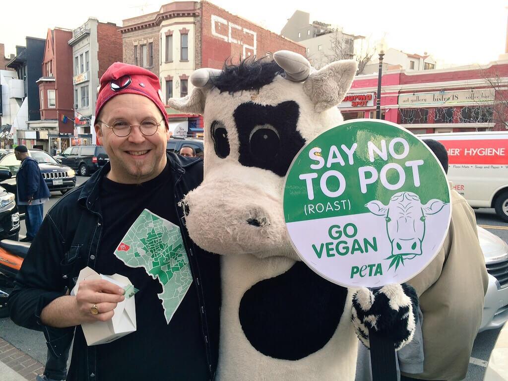 PETA 'Cow' Makes Friends at Marijuana Seed Giveaway