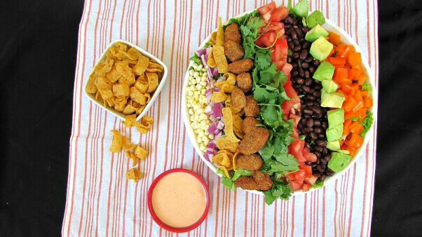 Southwest Salad with Beyond Meat Poppers
