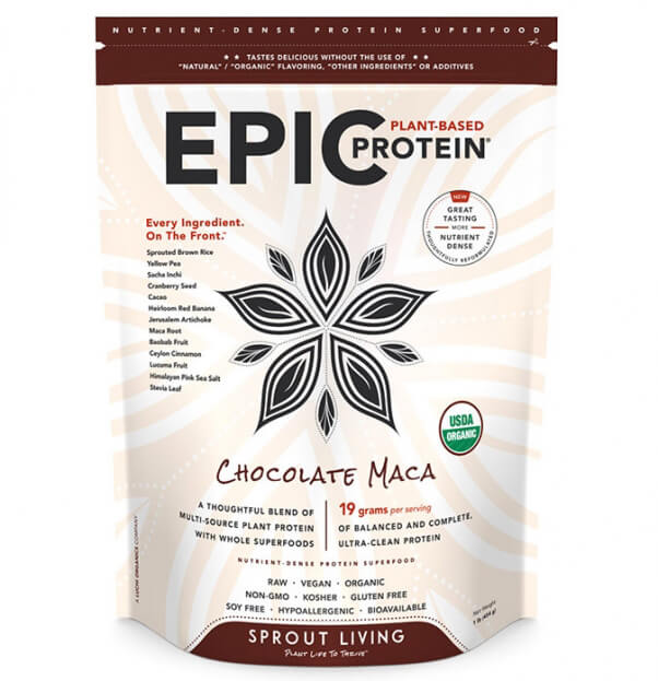 Sprout Living Epic Vegan Protein Powder Chocolate Maca