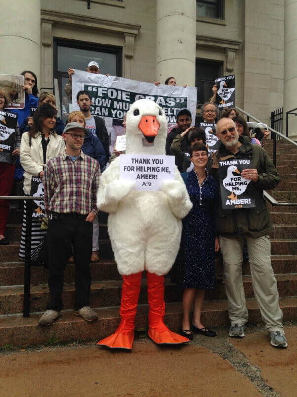 James Cromwell Leads Vigil for Jailed Foie Gras Whistleblower