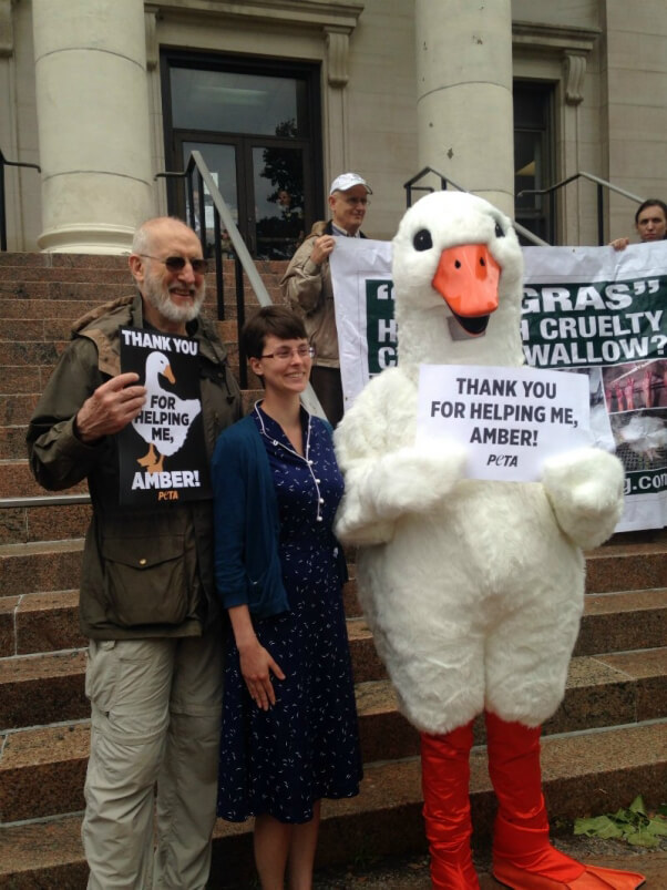 James Cromwell Leads Vigil for Jailed Foie Gras Whistleblower
