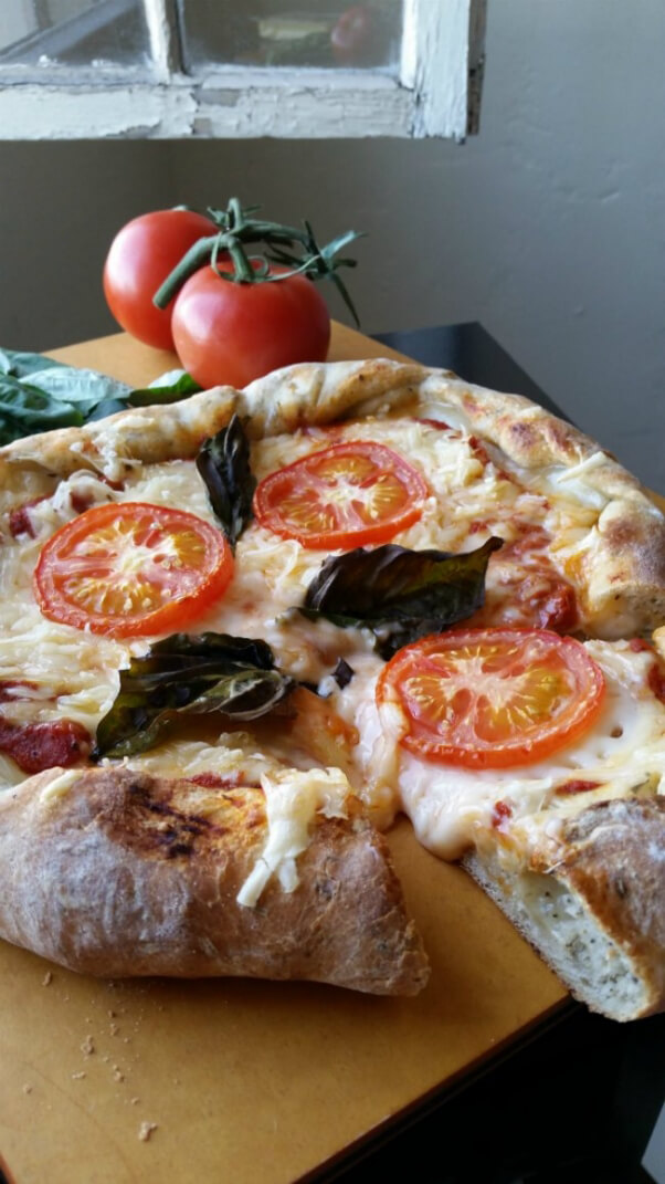 Vegan Pizza with Tomatoes and Basil