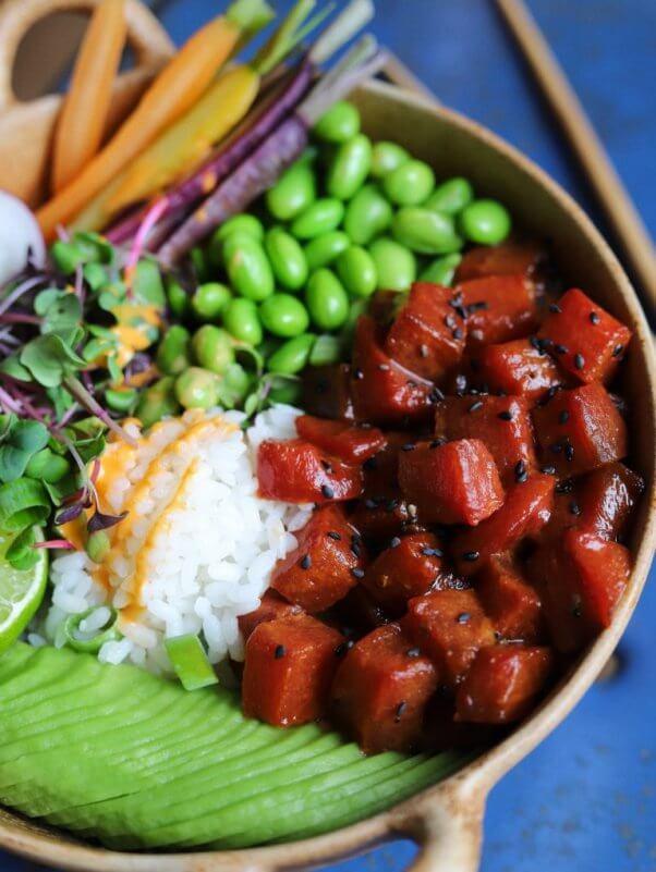 avant garde vegan poke bowl vegan fish