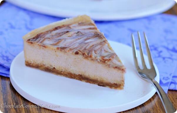 Cinnamon swirl cheesecake from chocolate covered katie