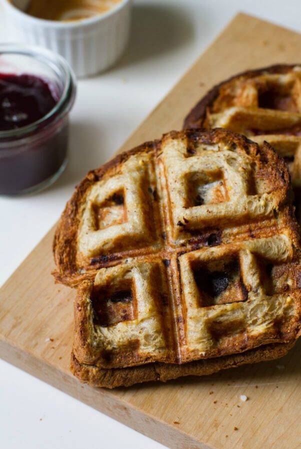 peanut butter and jelly sandwich waffle