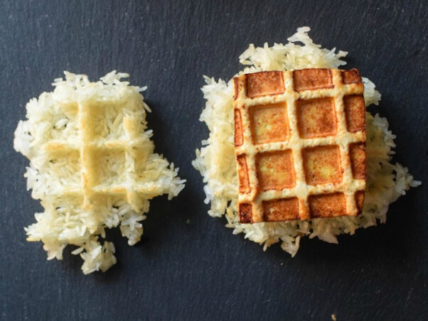 waffled sticky rice and tofu daniel shumski