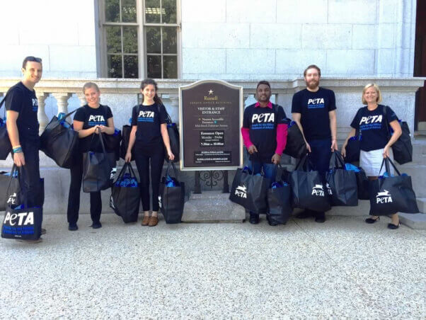 PETA delivers water bottles with drought message to Congress