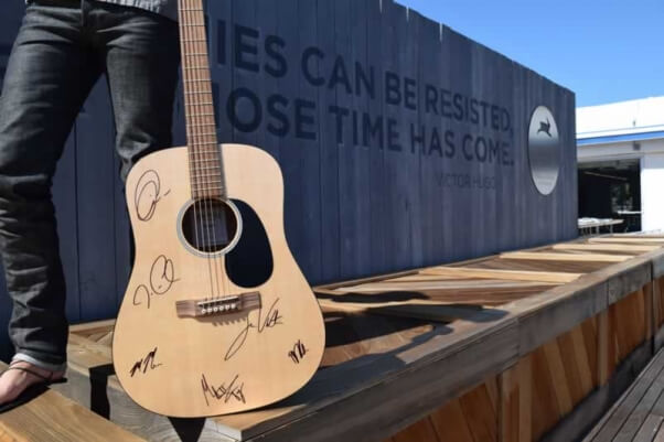 Martin DRSGT guitar signed by the members of Maroon 5