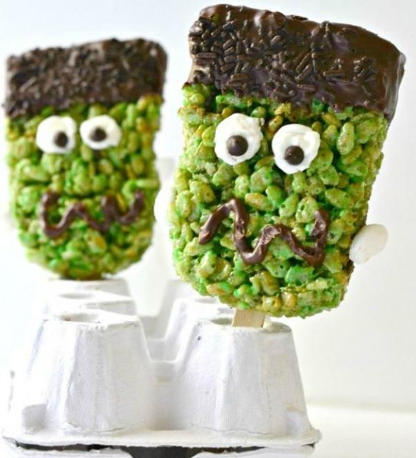 Frankenstein Halloween rice krispie
