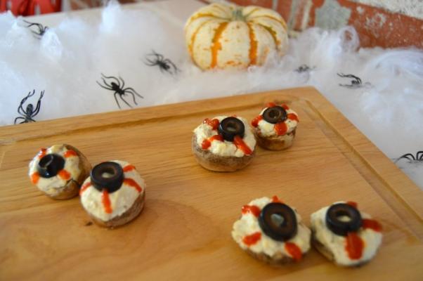 Halloween Recipe Mushroom Eyeballs