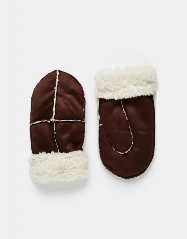 asos-faux-shearling-gloves-brown