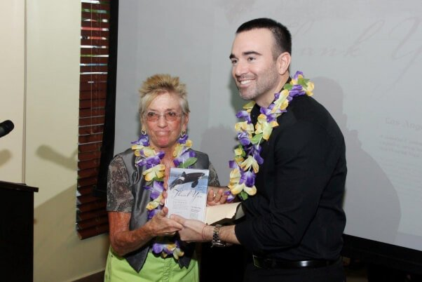 John Hargrove is presented with PETA's Courage of Conviction award.
