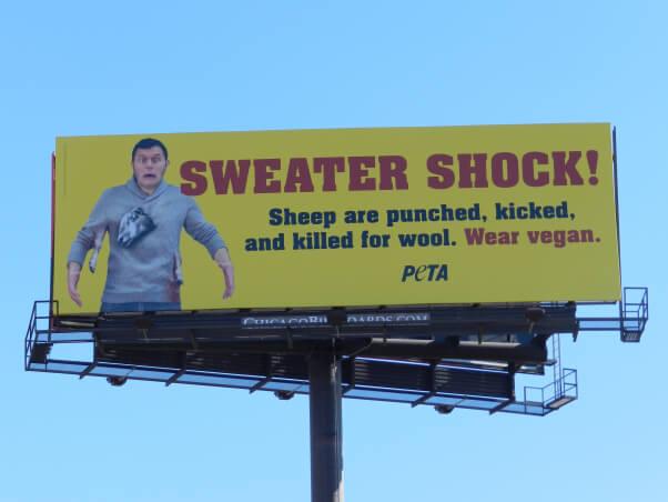 PETA Sweater Shock Yellow Billboard