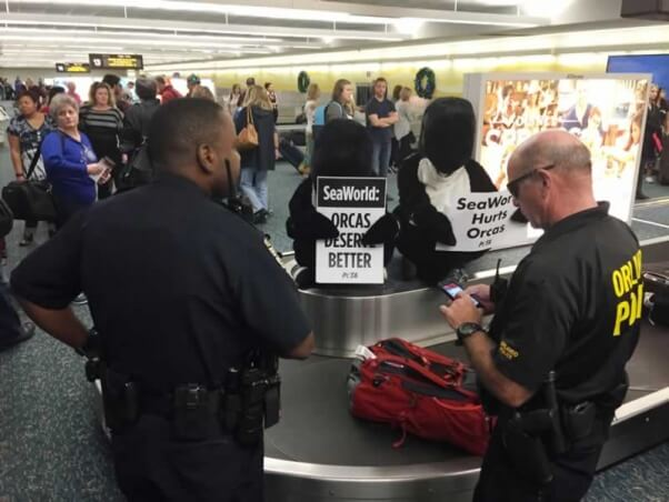 'Orcas' protest at Orlando airport