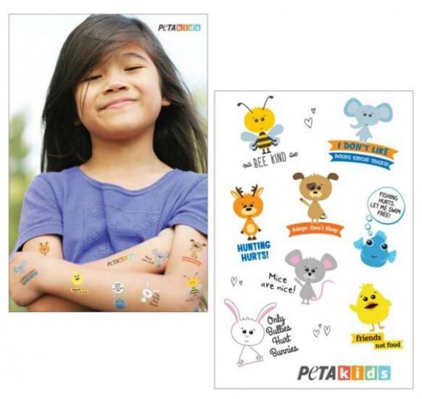 PETA kids temporary tattoos