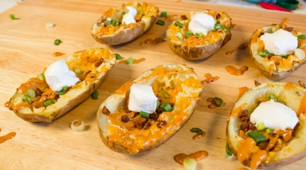 Potato Skins Vegan With Cheddar and Bacon