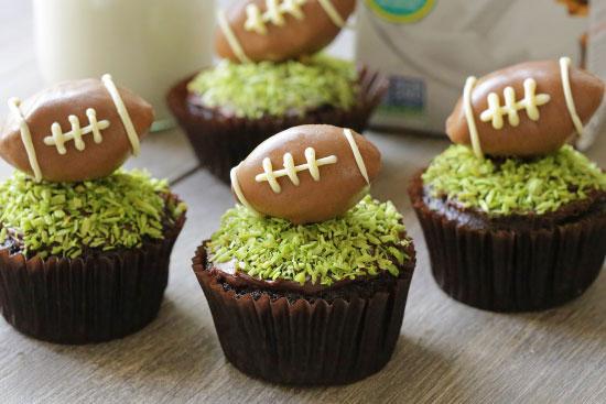 vegan chocolate football cupcakes by texanerin