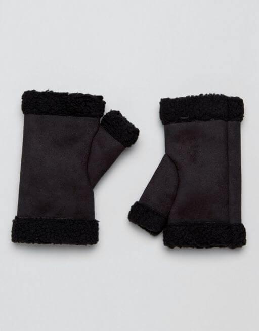 asos-faux-shearling-gloves-black
