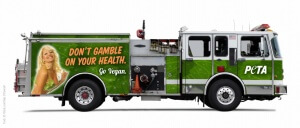 """Fire truck with proposed PETA  """"Go Vegan"""" ad"""