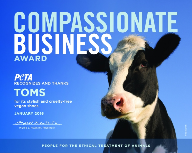 PETA's Compassionate Business award_TOMS