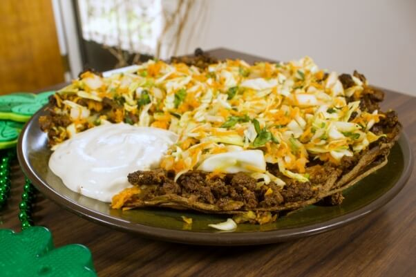 Vegan St. Patrick's Day Irish Nacho Pie Recipe with Cashew Sour Cream