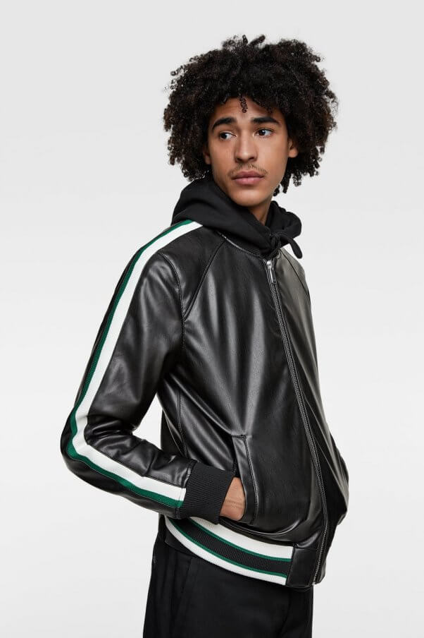Zara Faux Leather Jacket with Stripes