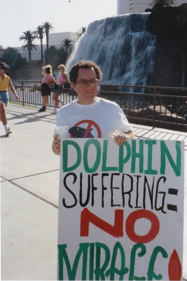 Mark protesting the Mirage Hotel's captive dolphin display.