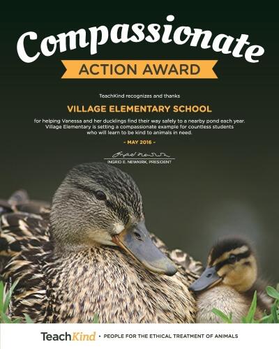 hartland, michigan school award for helping duck