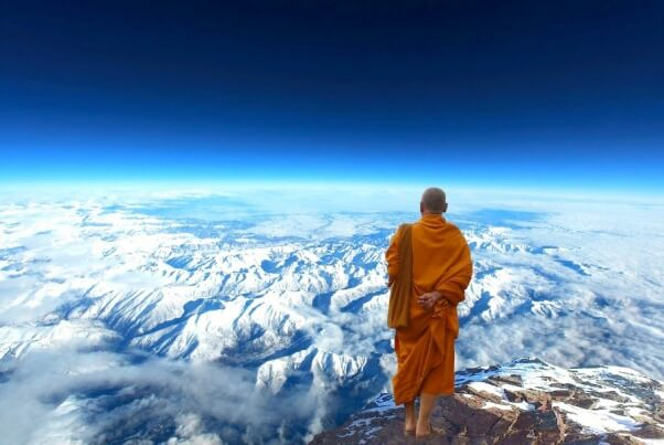 himalaya landscape with buddhist