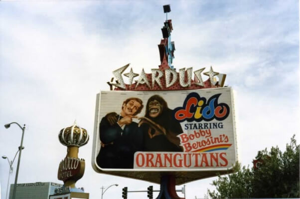 A sign for Berosini's act at the Stardust Hotel in Las Vegas.