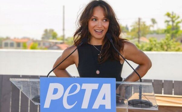 Mayte Garcia speaks at PETA event