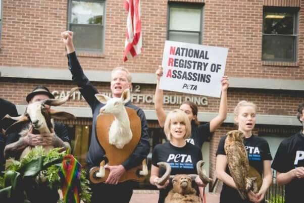 Dan Mathews leads PETA demo at NRA
