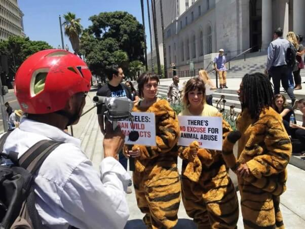 PETA rally to ban wild animal acts in Los Angeles