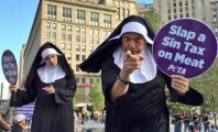 Nuns on Stilts Call for a 'Sin Tax' on Meat at Republican National Convention