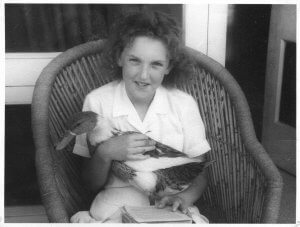 Ingrid Newkirk as a child, with Lucky.