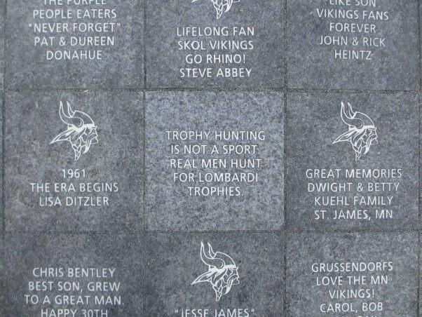 Anti-trophy hunting legacy brick at Vikings Stadium