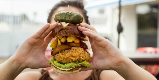 This Epic Stacked Vegan Burger Features a Jalapeño Popper–Stuffed Fried 'Chicken' Patty