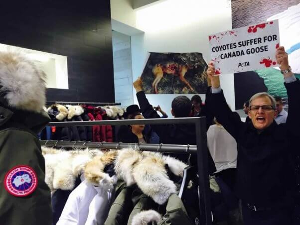 Demo at opening of Canada Goose flagship store