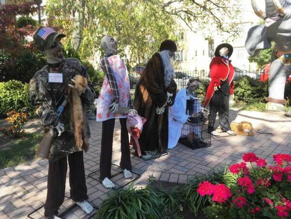 zombie display at PETA DC office