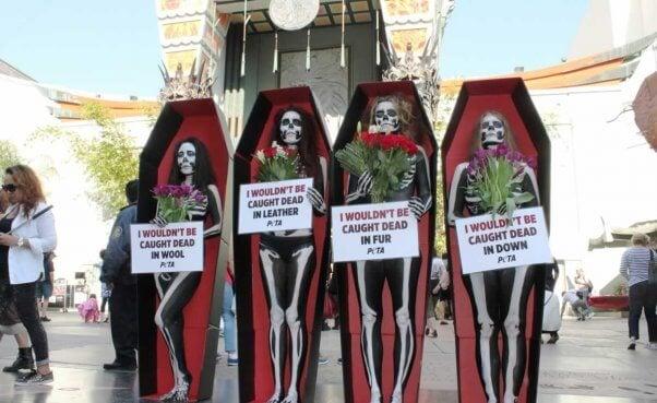 Skeleton demo on Hollywood Boulevard