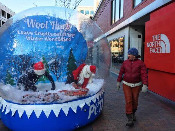 PETA anti-wool snow globe demo in Boise, ID