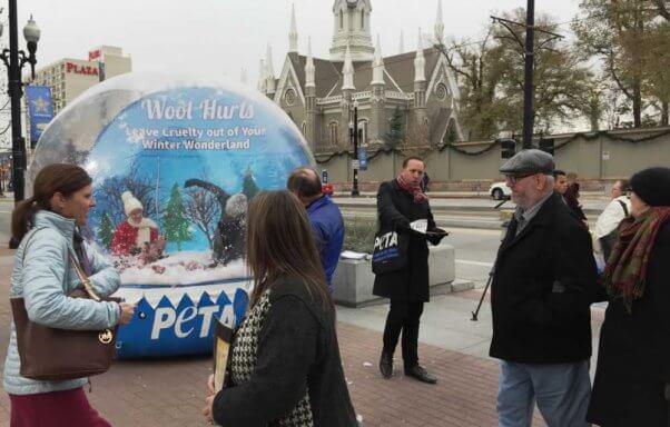 PETA anti-wool snow globe demo in Salt Lake City, UT