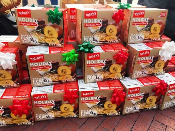 Pile oof Tofurky roasts with gift bows
