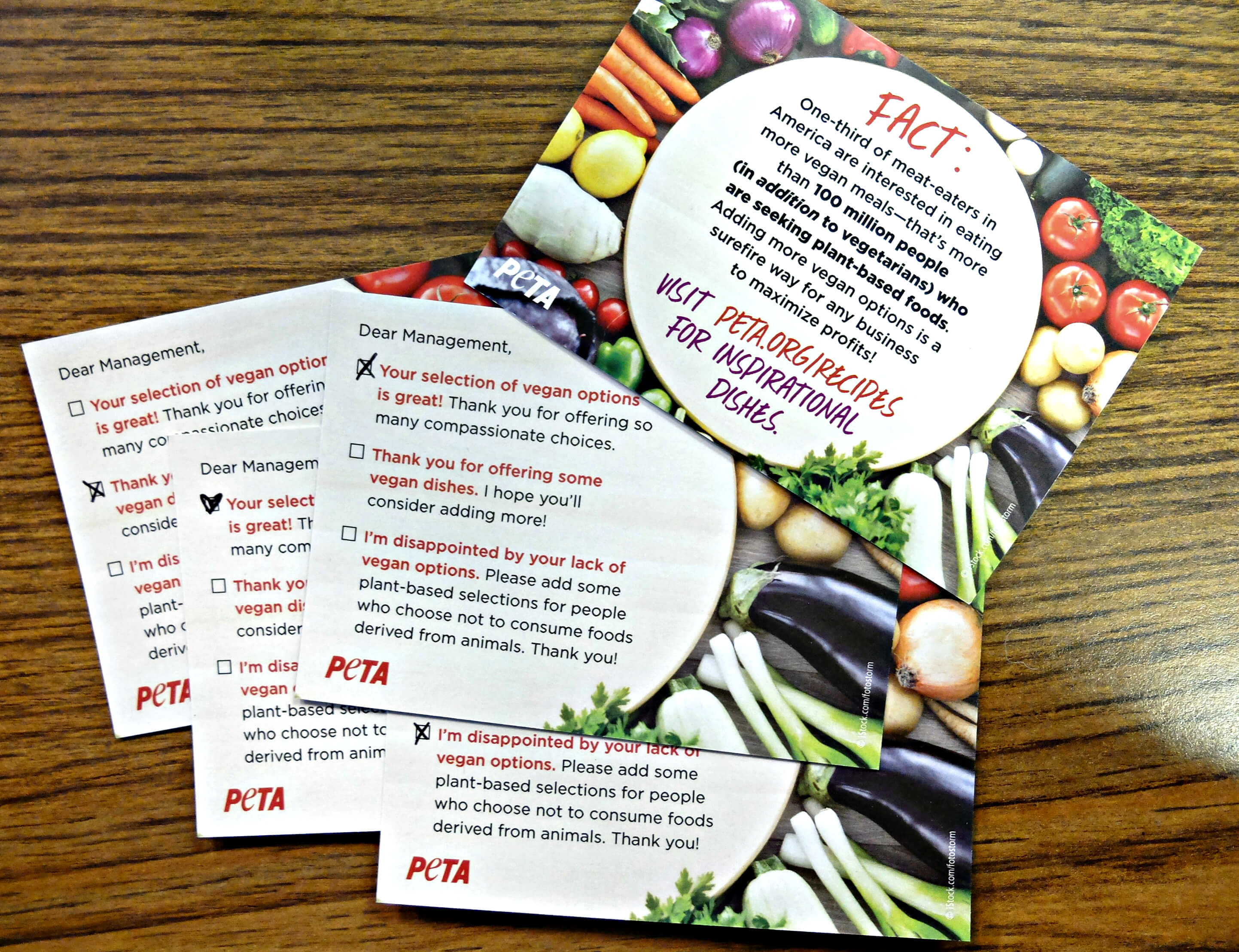 Get Your Free Restaurant Comment Cards PETA - Restaurant table cards