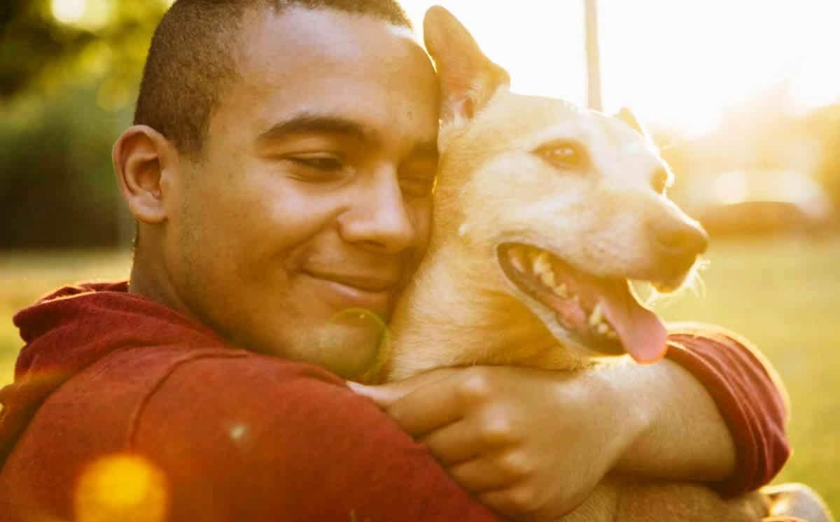 Man hugging small brown mixed-breed dog