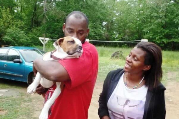 PETA Mobile Clinic client Angel with guardians